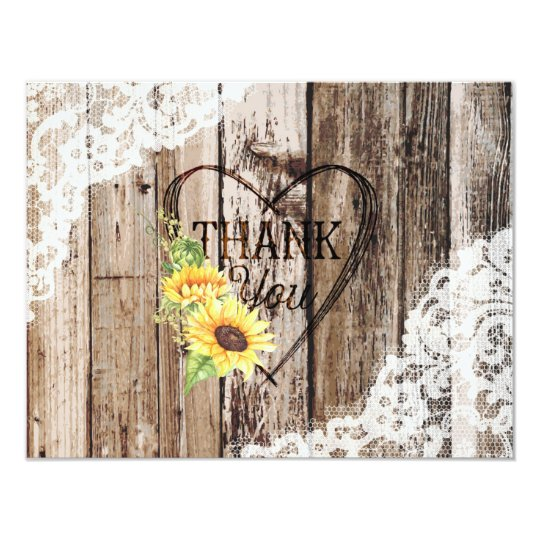 Rustic Wood Lace Sunflower Heart Etching Thank You Card