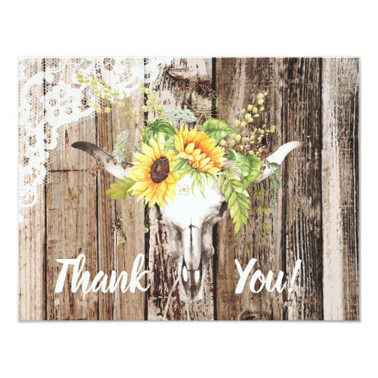 Rustic Wood Lace Sunflower Longhorn Thank You Card