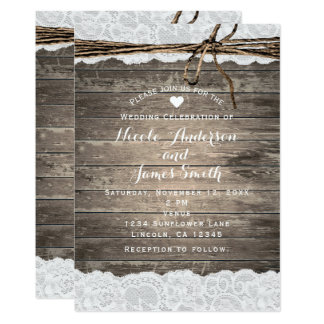 Rustic Wood Lace & Twine Romantic Barn Wedding Card