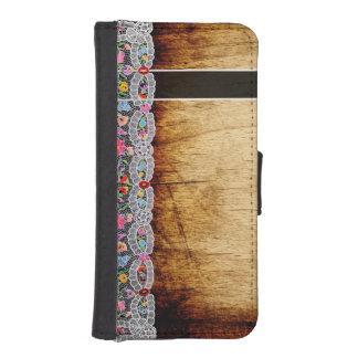 Rustic Wood Lace Vintage Kalocsa Wallet Case
