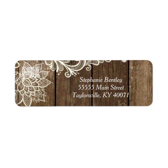 Rustic Wood Lace Wedding Return Address Label