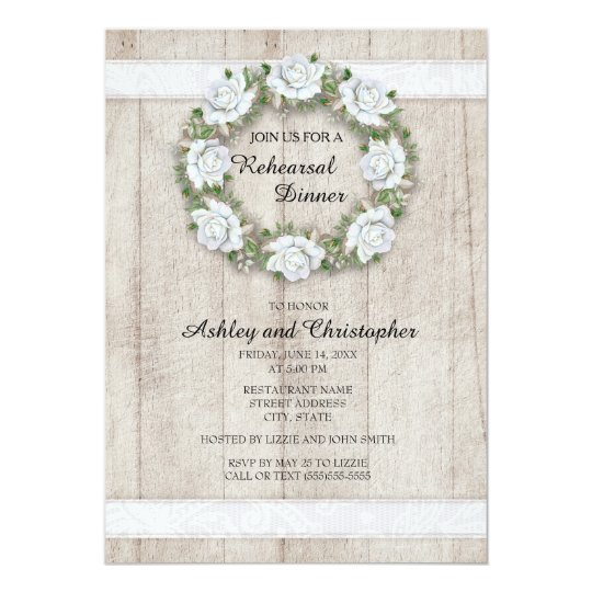 Rustic Wood, Lace, White Floral Wedding Rehearsal Card