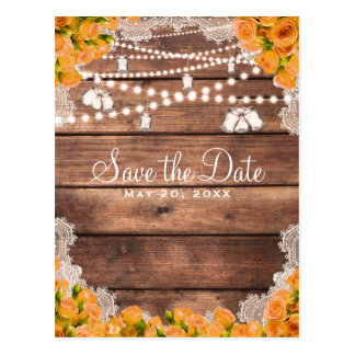 Rustic Wood Lace Yellow Rose Elegant Save the Date Postcard