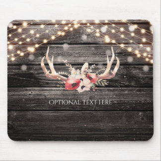Rustic Wood & Lights Floral Antlers Boho Chic Glam Mouse Pad