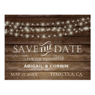 Rustic Wood Lights Save the Date Postcard