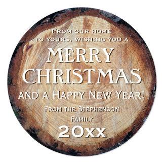 Rustic Wood Log Cut Tree Custom Christmas Greeting Card
