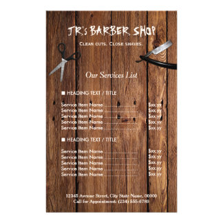 Rustic Wood Look Barber Shop Services Price List 14 Cm X 21.5 Cm Flyer