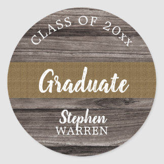 Rustic Wood Look Graduate Class of 2018 | Name Classic Round Sticker