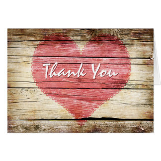 Rustic Wood Look Heart Wedding Thank You Card