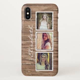 Rustic Wood Look Instagram Photo Collage iPhone X Case
