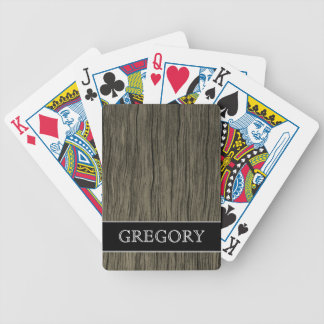 Rustic Wood Look Pattern + Custom Name Bicycle Playing Cards