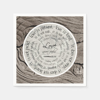 Rustic Wood Love is Patient Wedding Paper Napkins