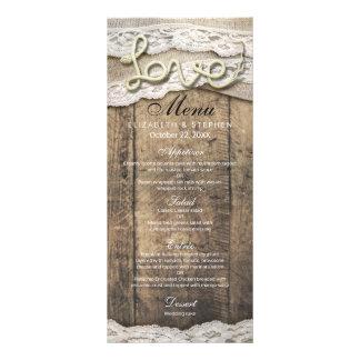 Rustic Wood Love Rope Burlap Lace Wedding Menu
