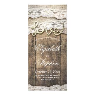 Rustic Wood Love Rope Burlap Lace Wedding Program Rack Card