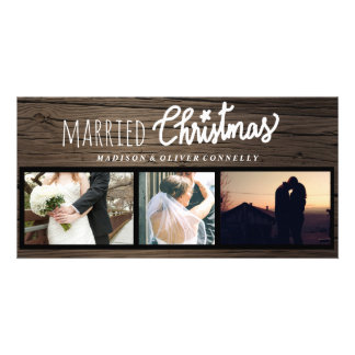 Rustic Wood Married Christmas Typography Three Card