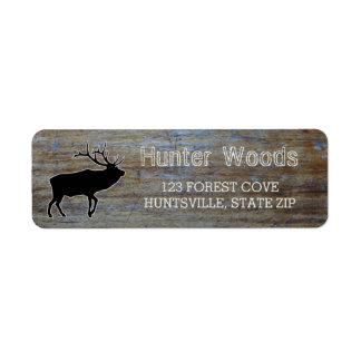 Rustic Wood | Masculine Wildlife Elk Silhouette Return Address Label