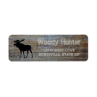 Rustic Wood | Masculine Wildlife Moose Silhouette Return Address Label