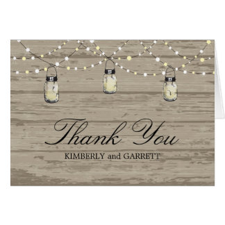 Rustic Wood Mason Jar and Lights Card