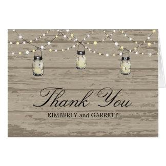 Rustic Wood Mason Jar and Lights Note Card