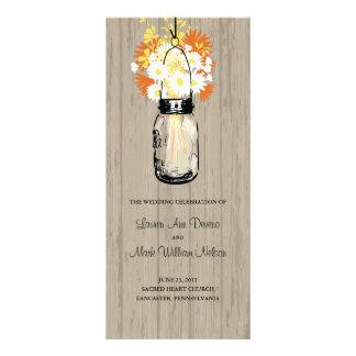 Rustic Wood Mason Jar and Wildflowers Program Customized Rack Card