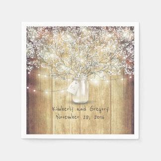 Rustic Wood Mason Jar Baby's Breath Barn Wedding Disposable Napkins