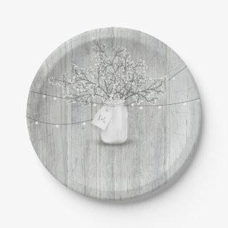 Rustic Wood Mason Jar Baby's Breath Barn Wedding Paper Plate