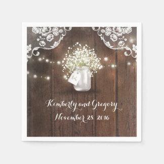 Rustic Wood Mason Jar Baby's Breath Barn Wedding Paper Serviettes