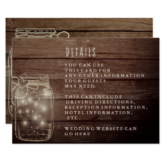 Rustic Wood Mason Jar Country Reception Card