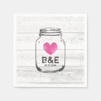 Rustic wood mason jar countryside wedding napkins disposable napkins