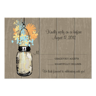 Rustic Wood Mason Jar filled with Wildflowers RSVP Invites