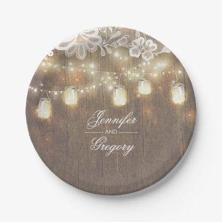 Rustic Wood Mason Jar Lights Lace Barn Wedding Paper Plate
