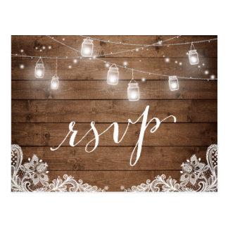 Rustic Wood Mason Jar Lights Lace Wedding RSVP Postcard