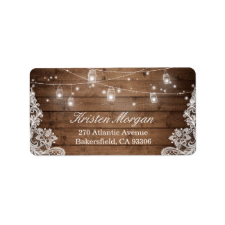Rustic Wood Mason Jar String Lights Lace Address Label