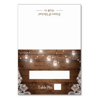 Rustic Wood Mason Jar String Lights Wedding Place Card