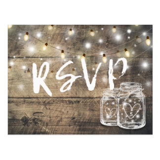 Rustic Wood & Mason Jar String Lights Wedding RSVP Postcard