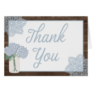 Rustic Wood Mason Jar Thank You Card