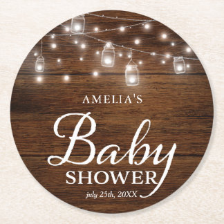Rustic Wood Mason Jars and Lights Baby Shower Round Paper Coaster