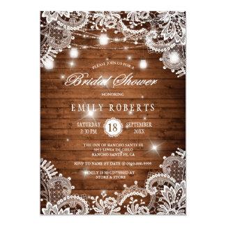 Rustic Wood Mason Jars Lights Lace Bridal Shower Card