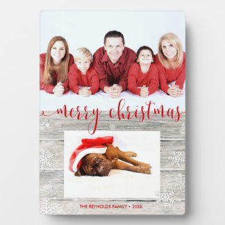 Rustic Wood Merry Christmas - Photo Plaque