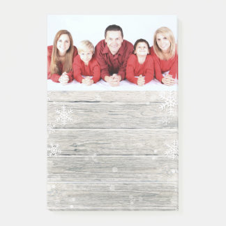 Rustic Wood Merry Christmas Photo - Post-it® Notes