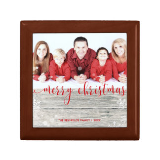 Rustic Wood Merry Christmas Photo - Tile Gift Box