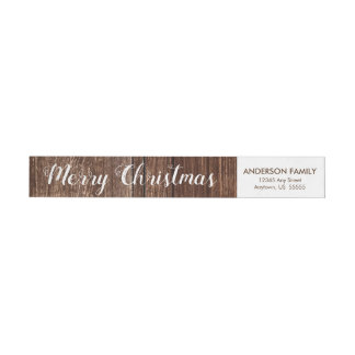 Rustic Wood | Merry Christmas Return Address Wrap Around Label