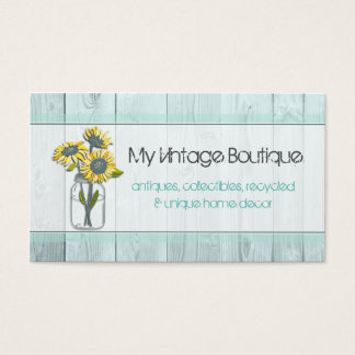 Rustic Wood Mint/Mason Jar Business Card
