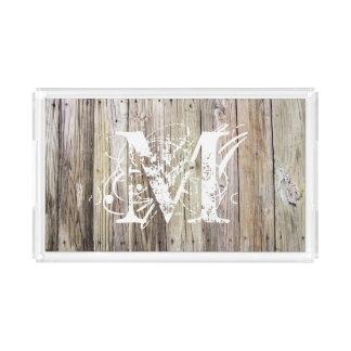 Rustic Wood Monogrammed Acrylic Tray