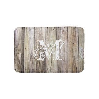 Rustic Wood Monogrammed Bath Mat