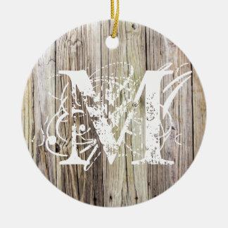 Rustic Wood Monogrammed Christmas Ornament