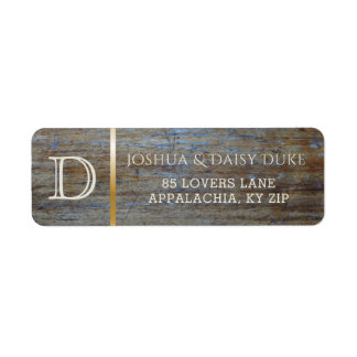 Rustic Wood Monogrammed | Country Wedding Theme Return Address Label