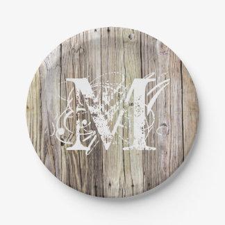 Rustic Wood Monogrammed Paper Plates