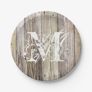 Rustic Wood Monogrammed Paper Plates 7 Inch Paper Plate