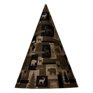Rustic wood moose bear pattern party hat